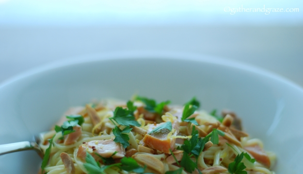 Smoked Trout and Almond Linguine, Gather and Graze