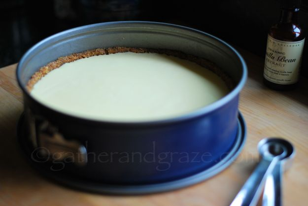 Baked Cheesecake with Sour Cream Topping | Gather and Graze