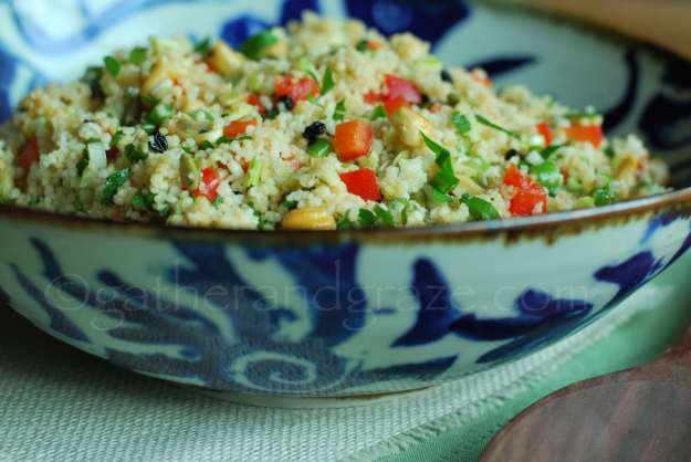 Couscous Salad with Cashews, Currants and Capsicum | Gather and Graze