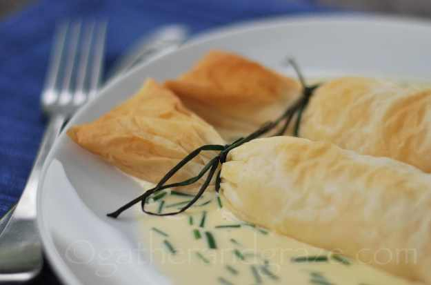 Seafood Filo Bonbons with Lemon Cream Sauce | Gather and Graze