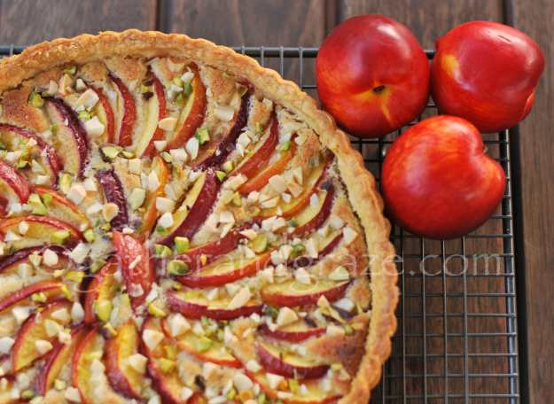 Nutty Nectarine Tart | gatherandgraze.com