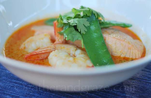 Salmon and Prawns in Spicy Coconut Broth | gatherandgraze.com