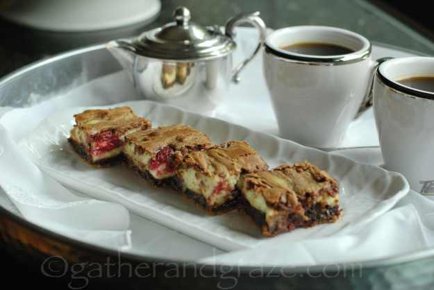 Raspberry Cream Cheese Brownies | Gather and Graze